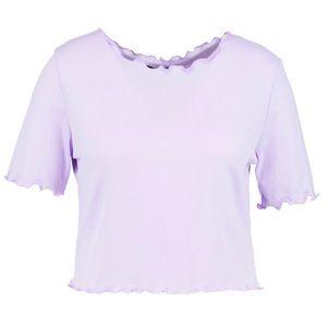Boohoo Lavender Frill Sleeve Ribbed Crop Top